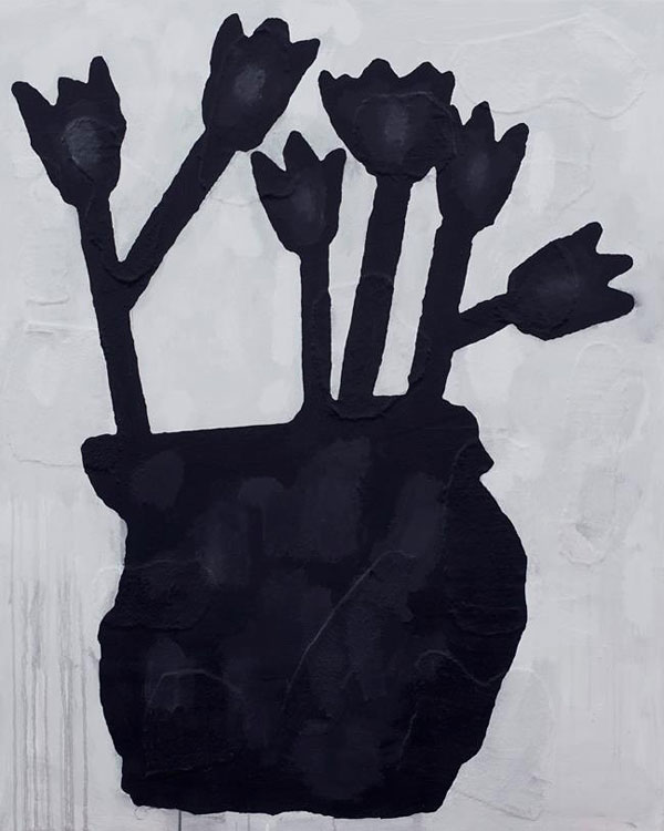 Donald Baechler, Black Flowers, 2012. Acrylic & fabric collage on canvas, 60 x 48 inches