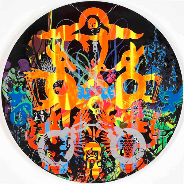 Ryan McGinness, All Your Earth Gods, 2011. Oil and acrylic on wood panel, 48 inches diameter