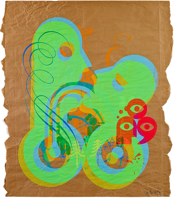 Ryan McGinness, French Kiss Series 5, 2009. Acrylic on paper, 39 3/4 x 34 inches