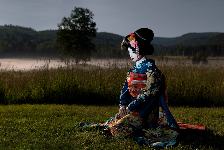 Laurie Simmons, The Love Doll/Day 33 (Geisha Moonlight Valley), 2011, Fuji matte print, 47 x 70 inches