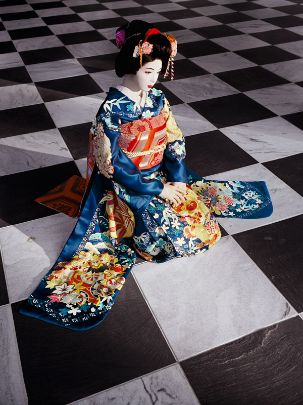 Laurie Simmons, The Love Doll/Day 32 (Blue Geisha, Black & White Room), 2011.  Fuji Matte print, 70 x 52-1/2 inches
