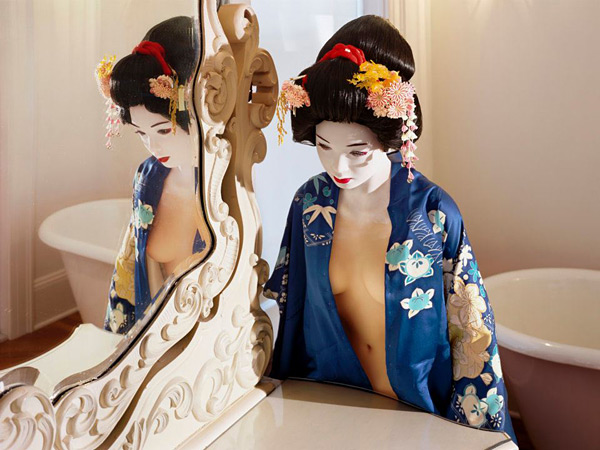 Laurie Simmons, The Love Doll/Day 34 (Blue Geisha, Dressing Room), 2011. Fuji Matte print, 52 1/2 x 70 inches