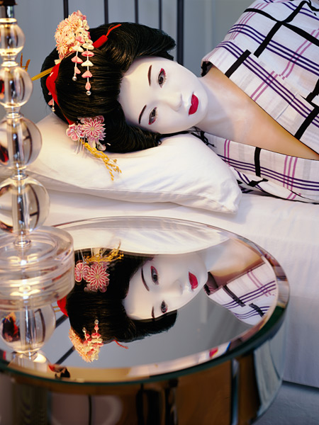 Laurie Simmons, The Love Doll/Day 35 (Blue Geisha, Lying on Bed 2), 2011. Fuji Matte print, 70 x 52-1/2 inches