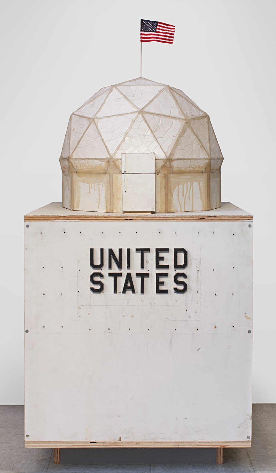 Tom Sachs, Geo Hab, 2012, foam core, thermal adhesive, steel rod, synthetic polymer paint on plywood, fiber glass tape, cabosil, epoxy resin, magnets, hardware, 53 1/2 x 26 x 26 inches