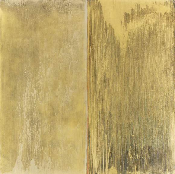 Pat Steir, Silver and Gold and Gold and Black with Red in the Middle For Aspen, 2012. Oil on canvas, 72 x 72 inches. © Pat Steir.