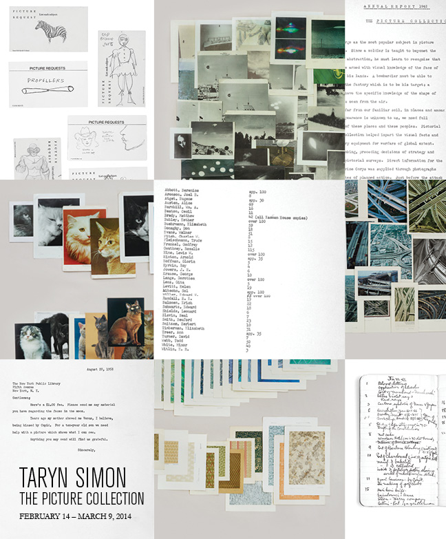 Taryn Simon, The Picture Collection, Baldwin Gallery, 12 February – 9 March, 2014