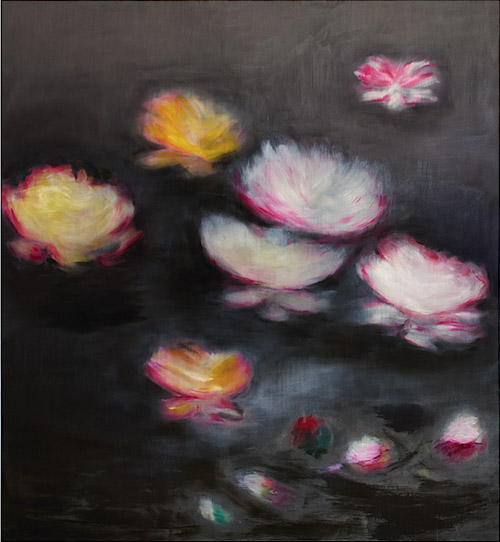 Ross Bleckner, Black Monet, 2014, oil on linen, 71-1⁄2 x 66 inches