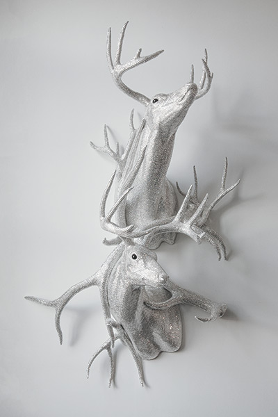 Marc Swanson, Untitled (double bucks with antlers), 2013. Crystals, polyurethane foam, adhesive, elk and deer antlers, 60 x 38 x 25 in.