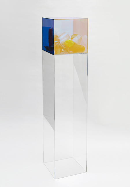Gavin Turk, Psion, 2015, glass and mixed media, 55-1⁄8 x 11-13⁄16 x 11-13⁄16 inches. Photo: Andy Keate