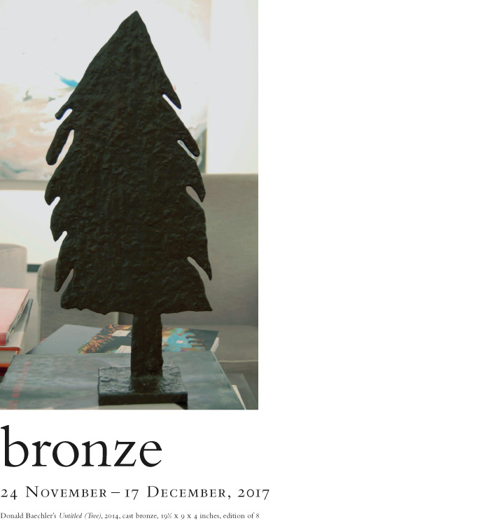Bronze. By gallery artists. On view at the Baldwin Gallery, 24 November - 17 December, 2017.