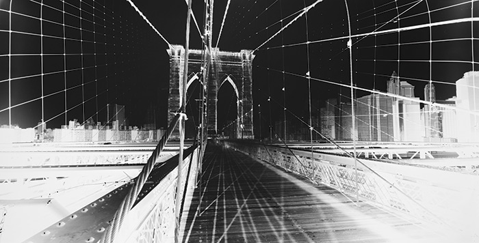 Vera Lutter, Brooklyn Bridge: June 11, 2015, unique silver gelatin print, 14-1⁄2 x 28 in.