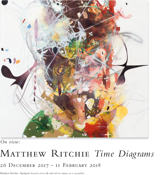 Matthew Ritchie: Time Diagrams. On view at the Baldwin Gallery, 26 December, 2017 - 11 February, 2018.