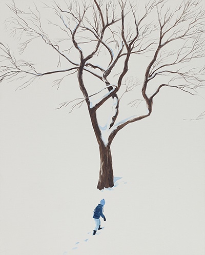 Snow tree, 2017, oil on linen, 30 x 24 inches