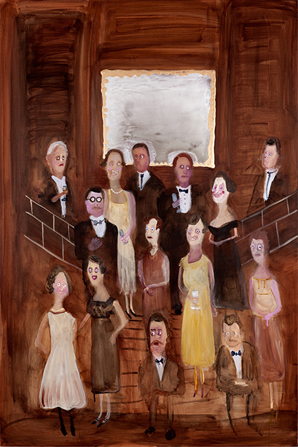 Genieve Figgis, Social Gathering, 2018, acrylic on canvas, 59 x 39-3⁄8 in.