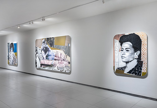 Mickalene Thomas: découverte, installation view, Baldwin Gallery, January, 2020